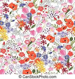 modèle floral, été, fleurs, clair, seamless