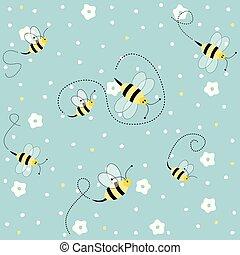 modèle floral, abeilles, seamless
