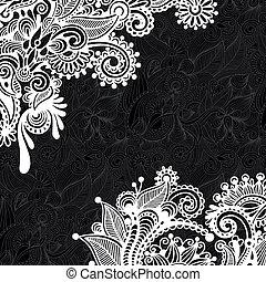 modèle floral, blanc, noir
