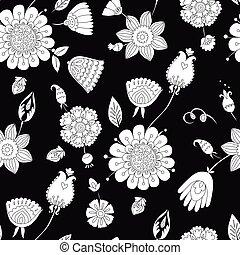 modèle floral, blanc, noir, seamless