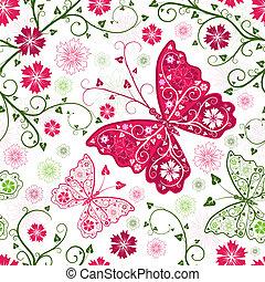 modèle floral, blanc, seamless