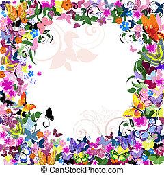 modèle floral, cadre, papillons