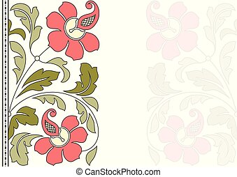 modèle floral, card., invitation