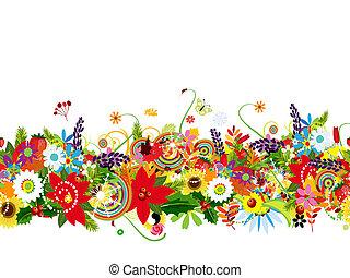 modèle floral, conception, seamless, ton