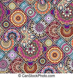 modèle floral, ethnique, seamless, mandalas