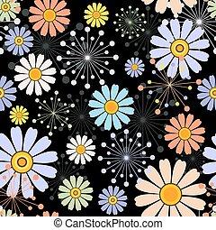 modèle floral, noir, seamless