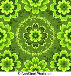 modèle floral, répéter, vert