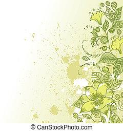 modèle floral, résumé, grunge