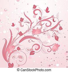 modèle floral, résumé, rose