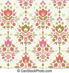 modèle floral, seamless, fond, damassé