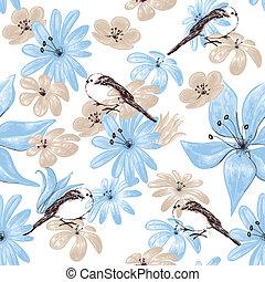 modèle floral, seamless, oiseaux