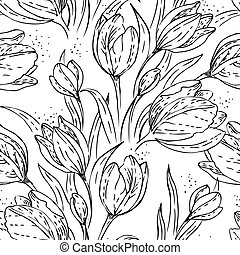 modèle floral, seamless, tulipes