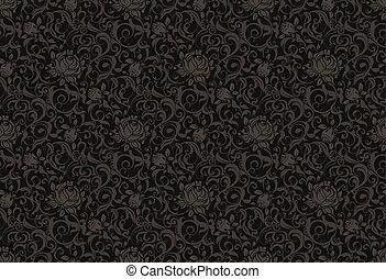 modèle floral, vecteur, noir, seamless