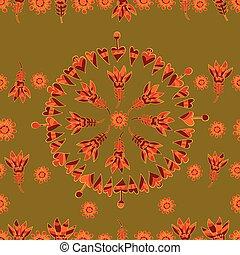 modèle floral, vecteur, seamless, 4