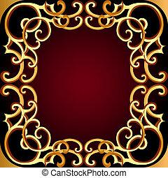 modèle, fond, gold(en), brun, cadre