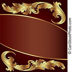modèle, fond, gold(en), brun