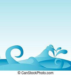 modèle, fond, mer, vagues