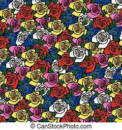 modèle, fond, roses