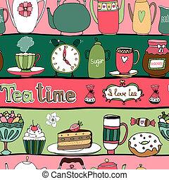modèle, fond, temps, seamless, thé