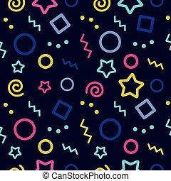 modèle, fond, vagues, sombre, seamless, coloré, vecteur, étoiles, géométrique, cercles, illustration, carrés, points