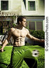 modèle, football, mâle, jouer