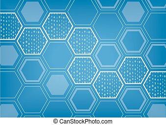 modèle, formé, vecteur, blockchain, hexagonal, fond, bleu