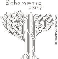 modèle, forme, arbre., planche, circuit