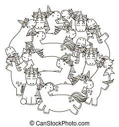 modèle, forme, cercle, mignon, unicorns, livre coloration