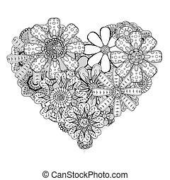 modèle, forme coeur, illustration