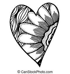 modèle, forme coeur, vecteur