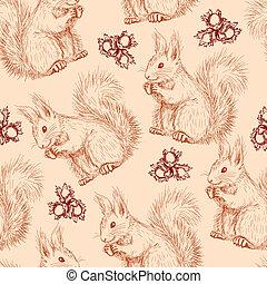 modèle, fou, seamless, écureuils