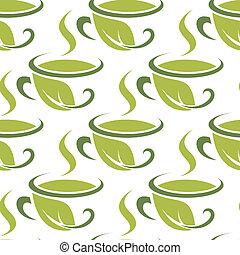 modèle, frais, herbier, vert, seamless, thé