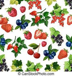 modèle, fruits, vecteur, seamless, baies