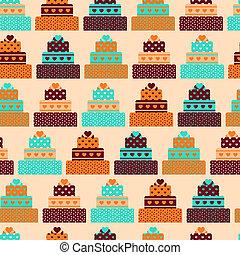 modèle, gâteaux, style., seamless, retro