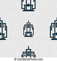 modèle, géométrique, seamless, icône, texture., signe., gratte-ciel