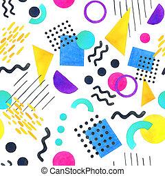modèle géométrique, styles, memphis, 80's-90's, fond blanc, seamless, formes