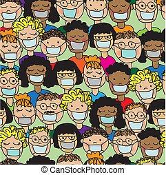 modèle, gens, monde médical, dessin animé, seamless, masques