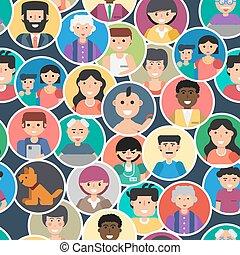 modèle, gens, seamless, faces