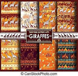 modèle, girafes, seamless, ensemble, stylisé