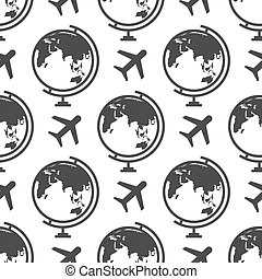 modèle, globe, -, seamless, fond, avion, ou, voyage
