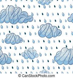 modèle, goutte, nuage, pluie