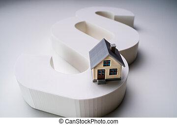 modèle, gros plan, symbole, maison, paragraphe