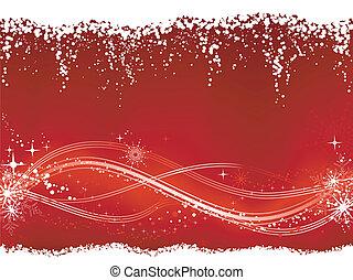 modèle, grunge, troisième, ligne, fond, fond, neige, elements., flocons, ondulé, saisonnier, étoiles, embellished