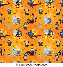 modèle, halloween, dessin animé, seamless