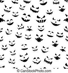 modèle, halloween, seamless, faces., citrouille