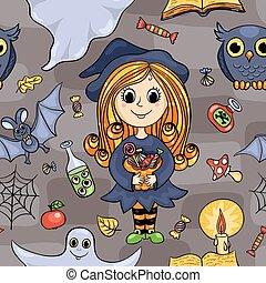modèle, halloween, seamless, mignon, dessin animé