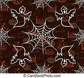 modèle, halloween, seamless, toile