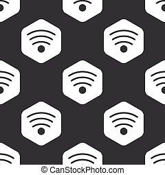modèle, hexagone, noir, wi-fi
