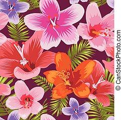modèle, hibiscus, seamless
