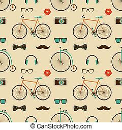 modèle, hipster, seamless, coloré